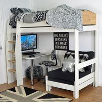 URBAN KIDS HIGH SLEEPER BED 2 in White and Birch