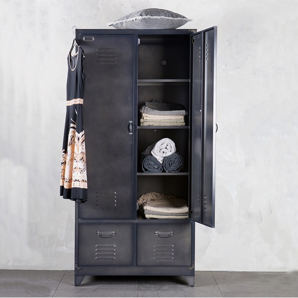 Metal Locker Style Wardrobe in Black