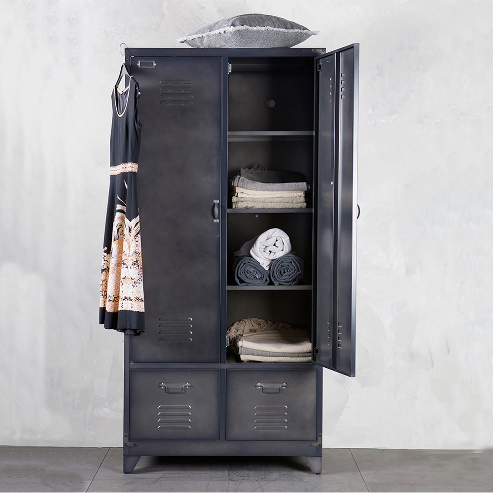 Metal Locker Style Wardrobe In Black Be Pure Home