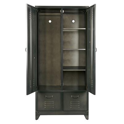 Metal Locker Style Wardrobe In Black - Cabinets, Drawers & Bookshelves