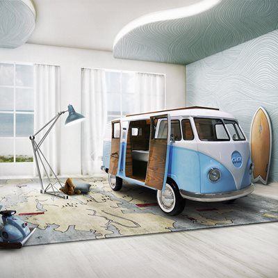 CAMPER VAN KIDS BED with TV, Sofa and Mini Fridge