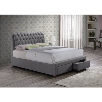 VALENTINO UPHOLSTERED BED WITH 2 DRAWERS in Grey by Birlea