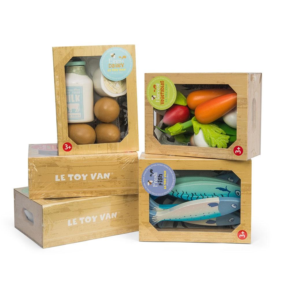 Le toy van crate of harvest vegetables honeybee market for Toy van cuisine