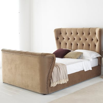 COPENHAGEN HIGH END UPHOLSTERED BED in Stone