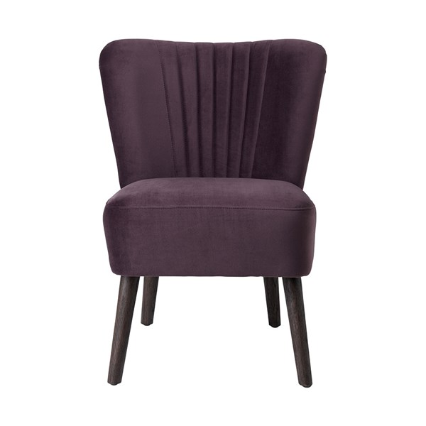 Copenhagen Upholstered Velvet Lounge Chair in Grape