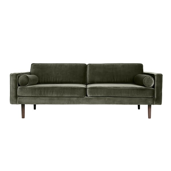 Green Sofa in Velvet Upholstery