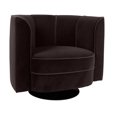 Exceptionnel ... Velvet Upholstered Tub Chair In Black With Swivel  ...
