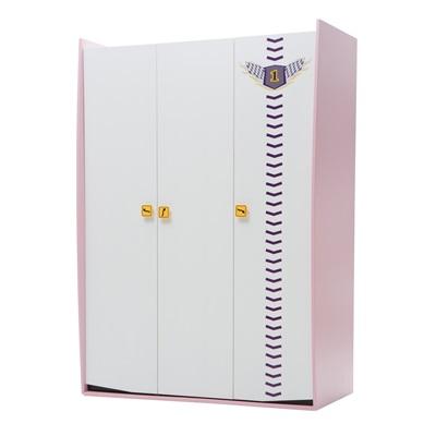 CHILDREN'S THREE DOOR WARDROBE in Pink Vento Design