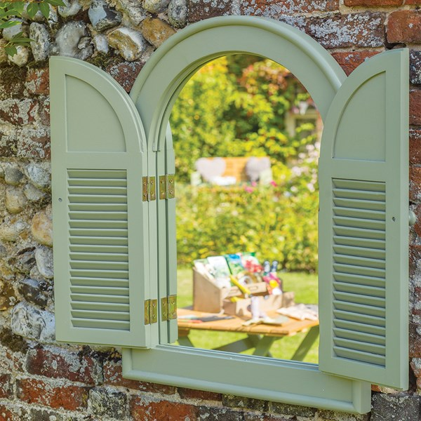 Verdi Outdoor Arch Shutter Mirror for the Garden