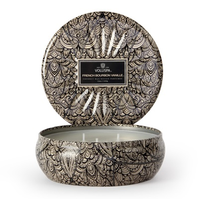 VOLUSPA CANDLE in French Bourbon Vanille (3 Wick Tin)