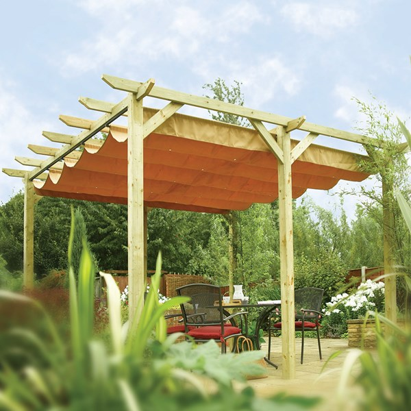 Verona Outdoor Canopy in Natural Timber by Rowlinson