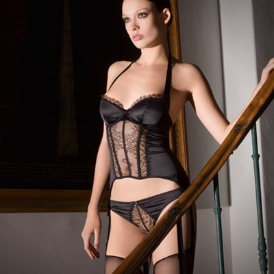 MAISON CLOSE French Lace Villa Satine Black Bodice