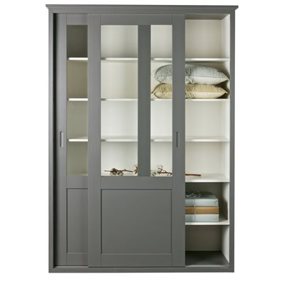 VINCE DISPLAY CABINET WITH SLIDING DOORS in Grey