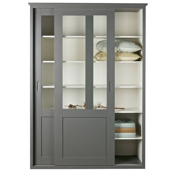 Display Cabinet with Sliding Doors in Grey