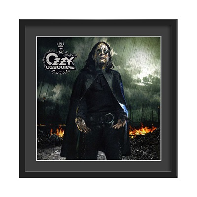 OZZY OSBOURNE FRAMED ALBUM WALL ART in Black Rain Print