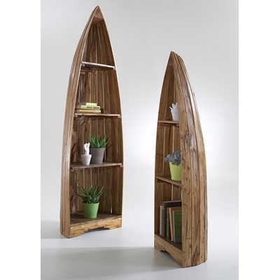 SET OF 2 WOODEN BOAT CABINETS in Vintage Style