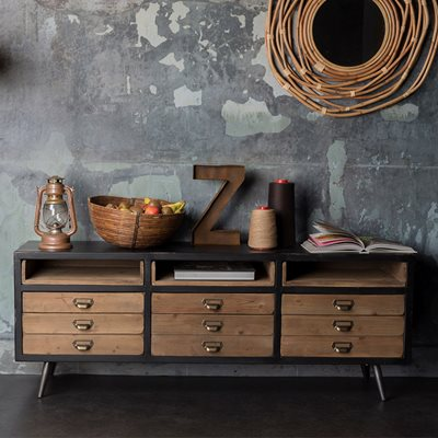 SOL SIDEBOARD CABINET with Pine Drawers in Vintage Finish