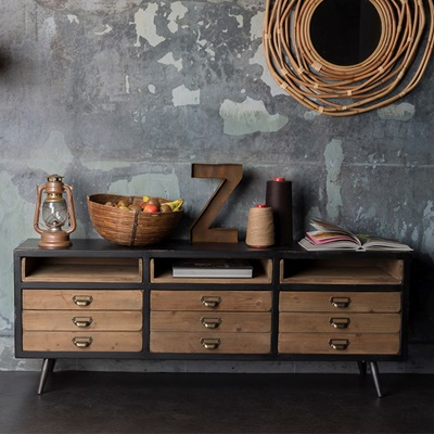 DUTCHBONE SOL SIDEBOARD CABINET with Pine Drawers in Vintage Finish