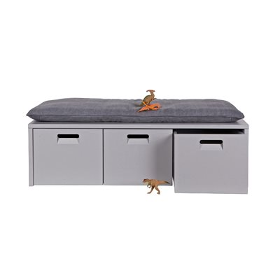 INDUSTRIAL KIDS LOCKER STORAGE BENCH in Hertog Grey