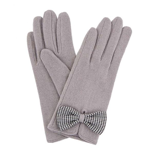 Powder Violet Wool Gloves in Slate Grey