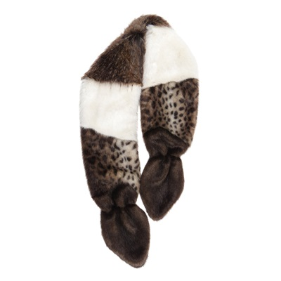 HELEN MOORE FAUX FUR MULTI VIXEN SCARF in Natural