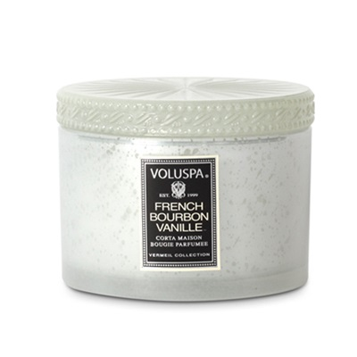 VOLUSPA CANDLE in French Bourbon Vanille  (Glass Case with lid)