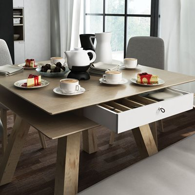 Vox 4 You Dining Table with Hidden Container in Oak Effect