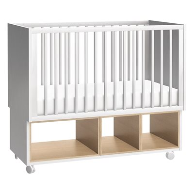 Image of 4YOU BABY COT WITH STORAGE in White & Oak