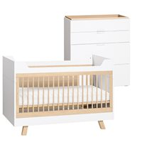 Vox Vox 4 You 3 in 1 Baby & Toddler Cot Bed 2 Piece Nursery Set in White & Oak
