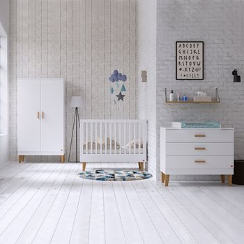 Vox Lounge Cot 3 Piece Nursery Set In White Oak