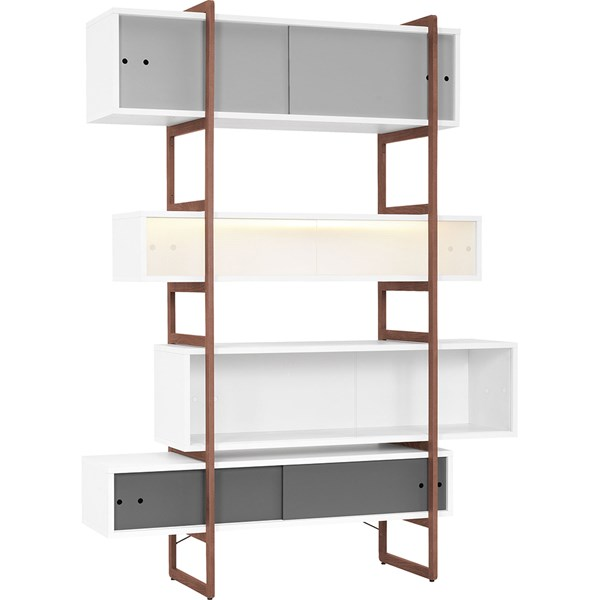 Mio Bookcase and Storage Unit with Sliding Doors