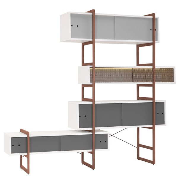 Mio Bookcase and TV Cabinet with Sliding Doors