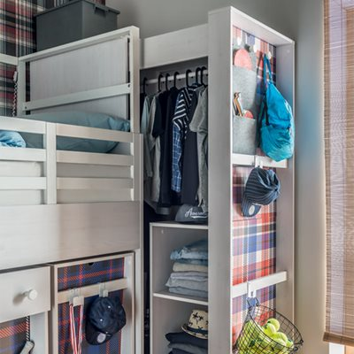 NEST PULL OUT WARDROBE in Larch Effect & Graphite