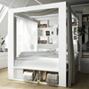 White Double Bed with Built In Storage