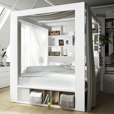 ... Vox-Storage-Bed.jpg ... & 4you 4 Poster Double Bed With Storage u0026 Shelves In White - Single Beds