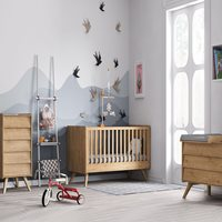 Vox Vintage 3 Piece Cot Bed Nursery Set in a Choice of Oak or 5 Pastel Colours - Oak