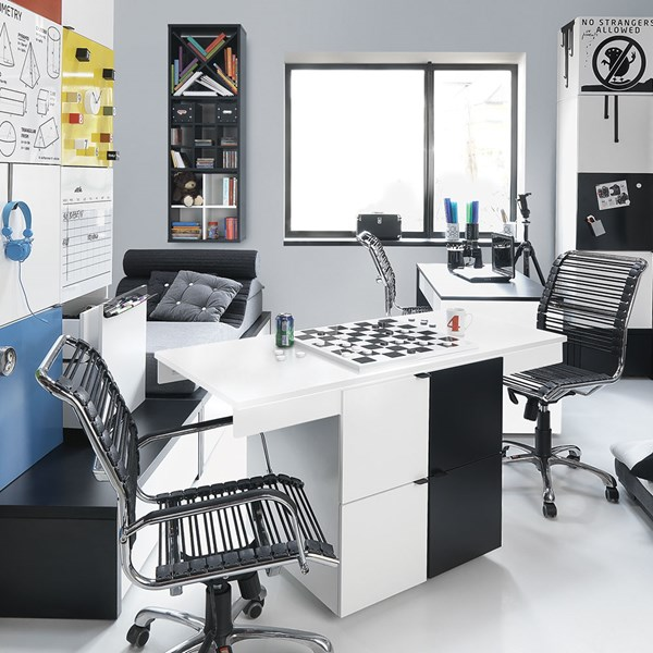 Contemporary Children's Desk in Black and White