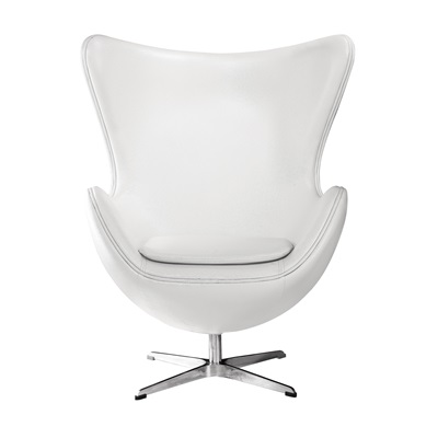 WHITE LEATHER Effect Jubilee Egg Chair with Chrome Base