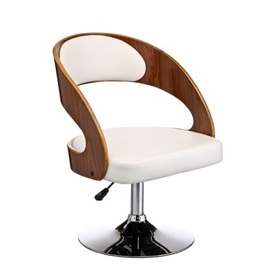 WHITE LEATHER Effect Swivel Chair