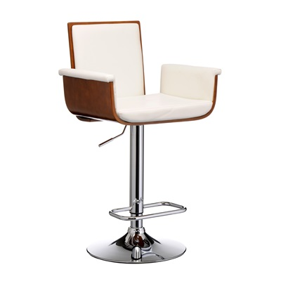 WHITE LEATHER Effect and Walnut Wood Bar Stool