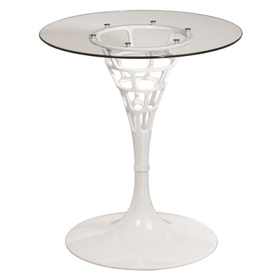 WHITE SENDERO Side Table with Tempered Glass Top