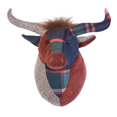 WALL MOUNTED FABRIC TROPHY HEAD in Highland Cow Design