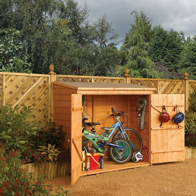 ROWLINSON WOODEN 6ft x 3ft BIKE SHED in Honey Brown