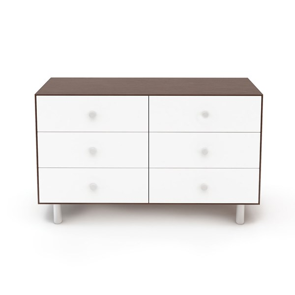 Oeuf Classic 6 Drawer Dresser in White and Walnut
