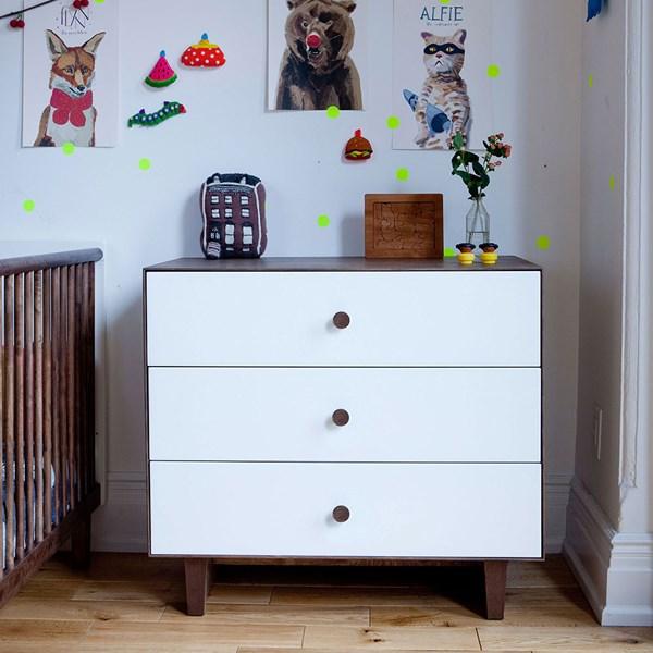Oeuf Rhea 3 Drawer Dresser in White and Walnut