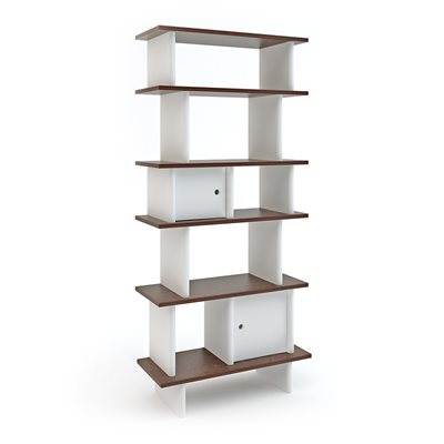 Oeuf Bookcase in White & Walnut