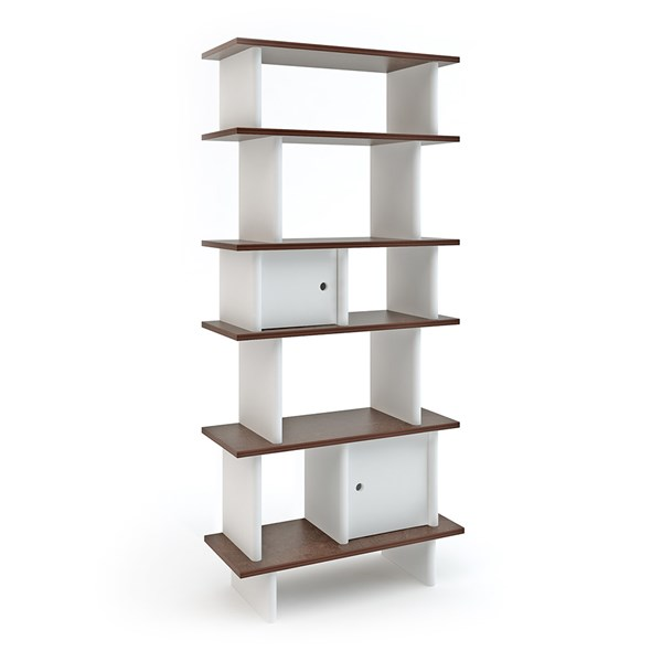 Oeuf Bookcase in White and Walnut