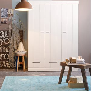 Connect Contemporary 3 Door Wardrobe with Storage in White by Woood