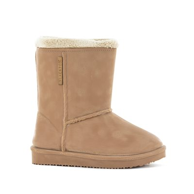 BLACKFOX SHEEPSKIN STYLE WATERPROOF KIDS WELLIES BEIGE