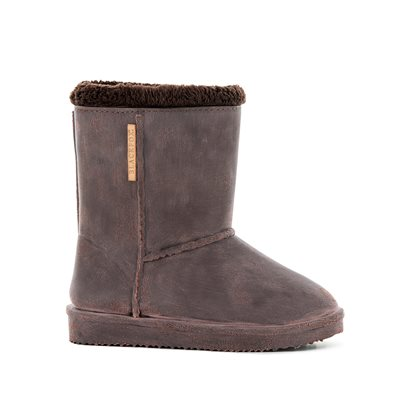 WATERPROOF SHEEPSKIN STYLE KIDS SNUG-BOOT WELLIES in BROWN